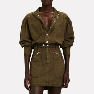 FRAME Denim Moto Zip Snap Front Dress in Washed Army Utility NWT